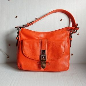 Chaps Orange Faux Leather Zipper and Snap Bag